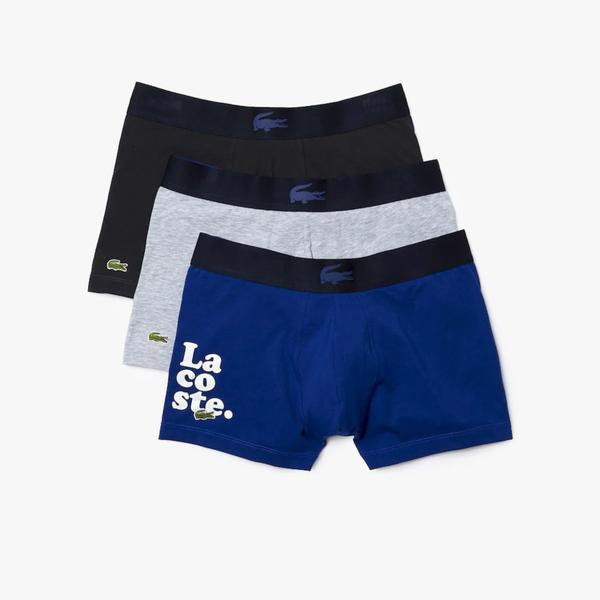 Lacoste Erkek Mavi - Gri 3'lü Boxer