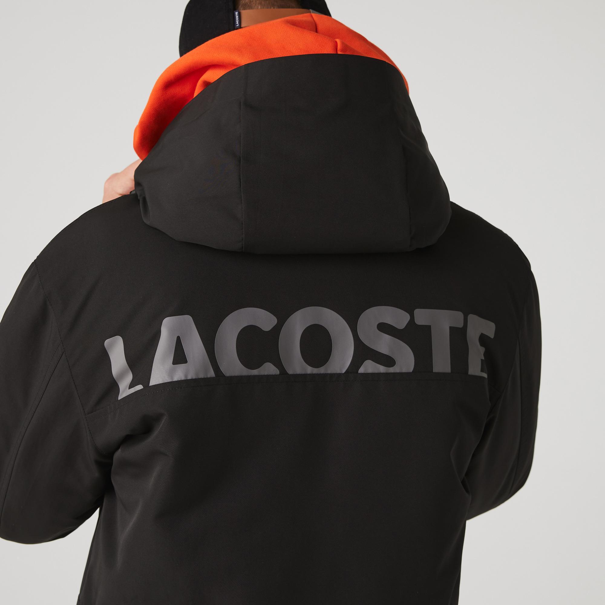 Lacoste Sport Erkek Suya Dayanıklı Baskılı  Kapüşonlu Siyah Mont