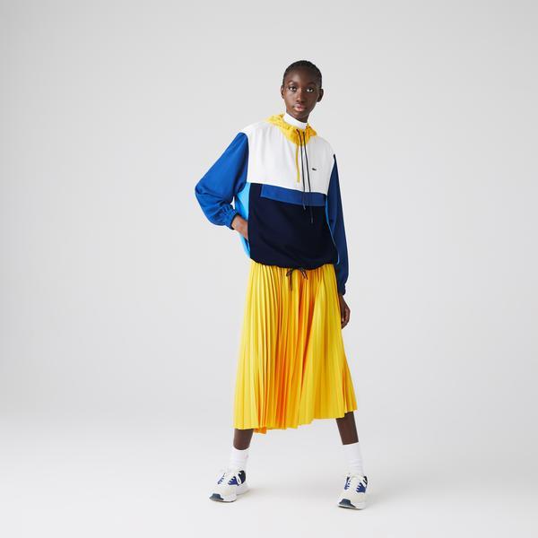 Lacoste Kadın Blok Desenli Fermuarlı Renkli Sweatshirt