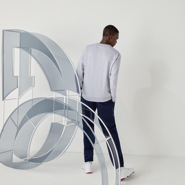 Lacoste Novak Djokovic X YSY Erkek Baskılı Bisiklet Yaka Gri Sweatshirt