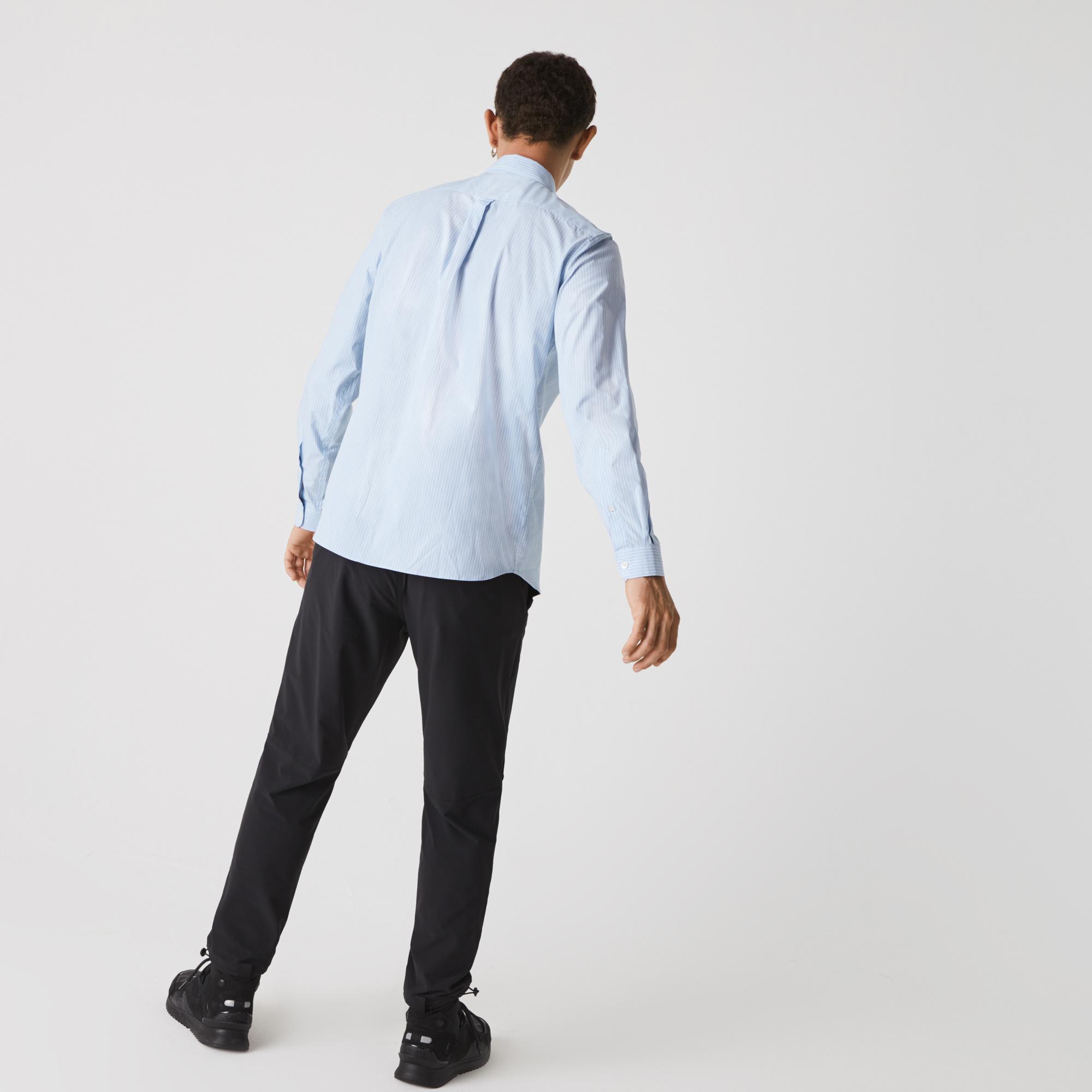Lacoste x National Geographic Erkek Regular Fit Çizgili Mavi Gömlek