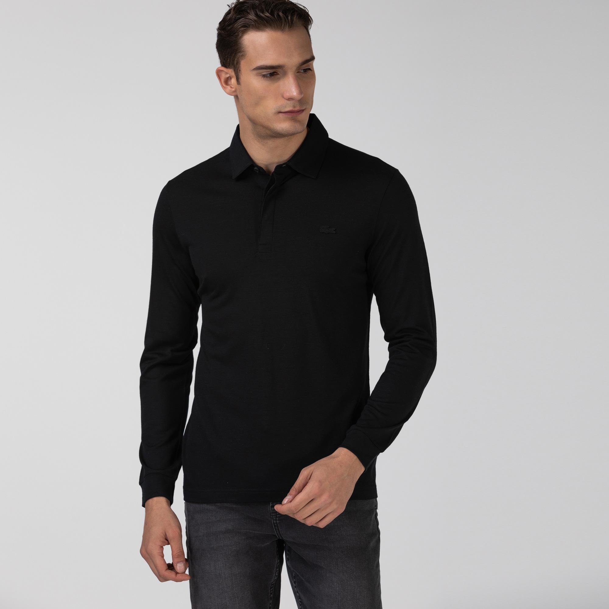 Lacoste Erkek Yün Regular Fit Uzun Kollu Siyah Polo