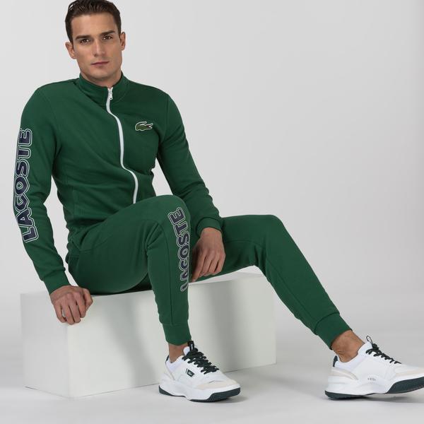 Lacoste Sport Erkek Blok Desenli Fermuarlı Uzun Kollu Yeşil Eşofman Takımı