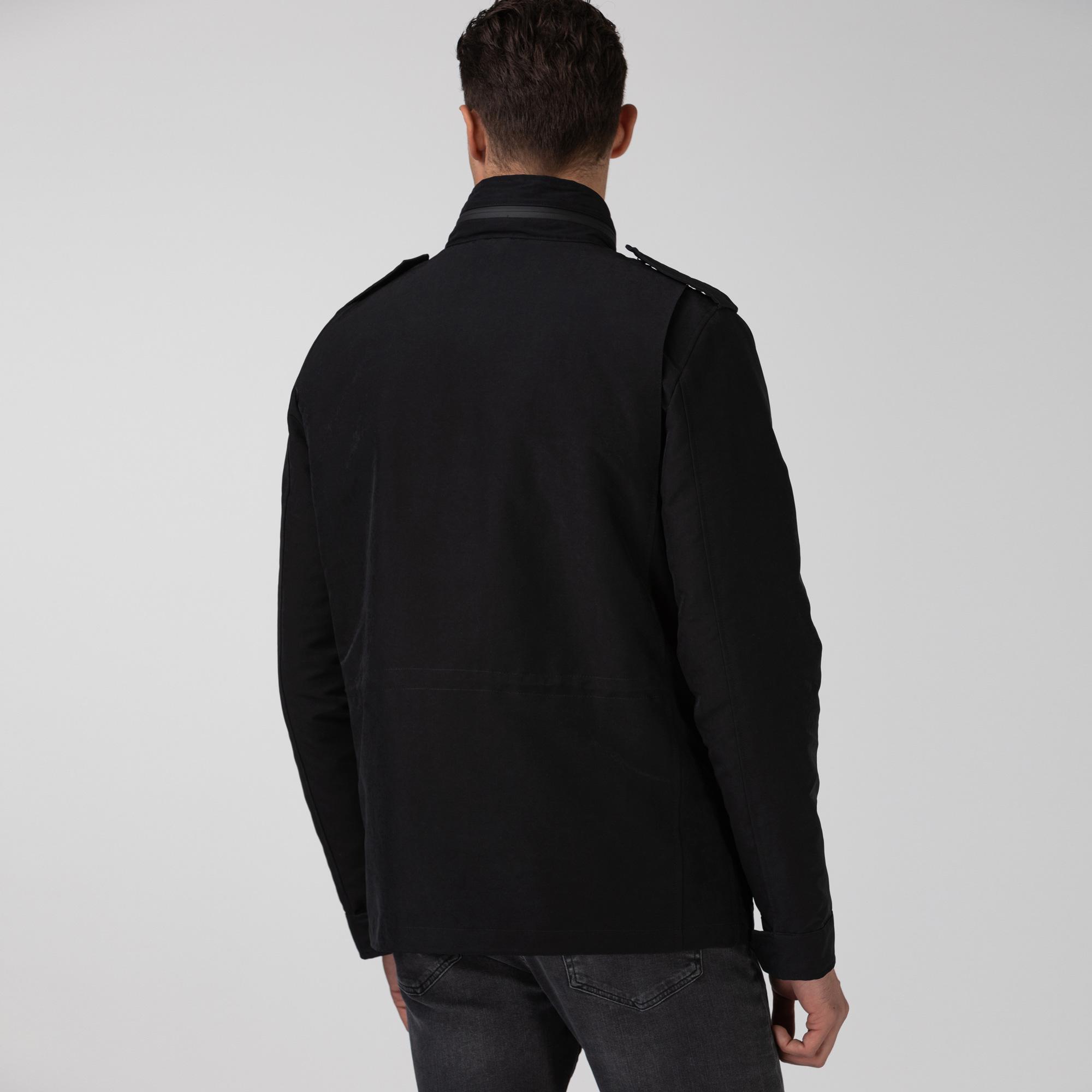 Lacoste Erkek Çift Kullanımlı Gizlenebilir Kapüşonlu Siyah Mont