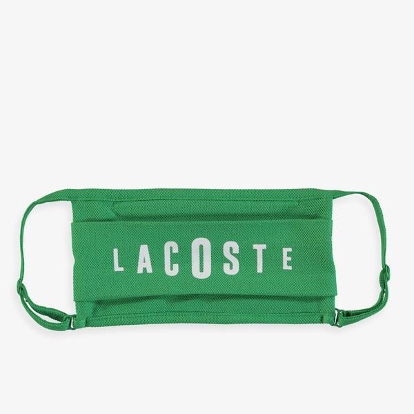 Lacoste Pamuklu Yıkanabilir Yeşil - Beyaz Baskılı 3'lü Maske