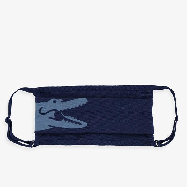 Lacoste Pamuklu Yıkanabilir Mavi - Lacivert Baskılı 3'lü Maske
