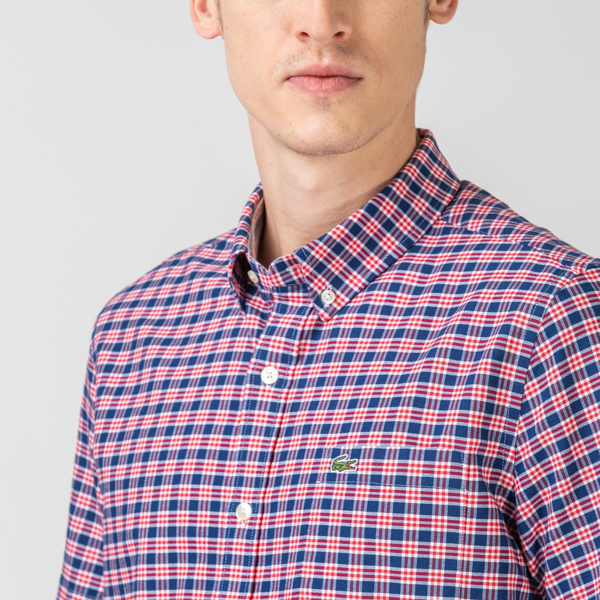 Lacoste Erkek Regular Fit Kısa Kollu Ekose Desenli Kırmızı - Saks Mavi Gömlek