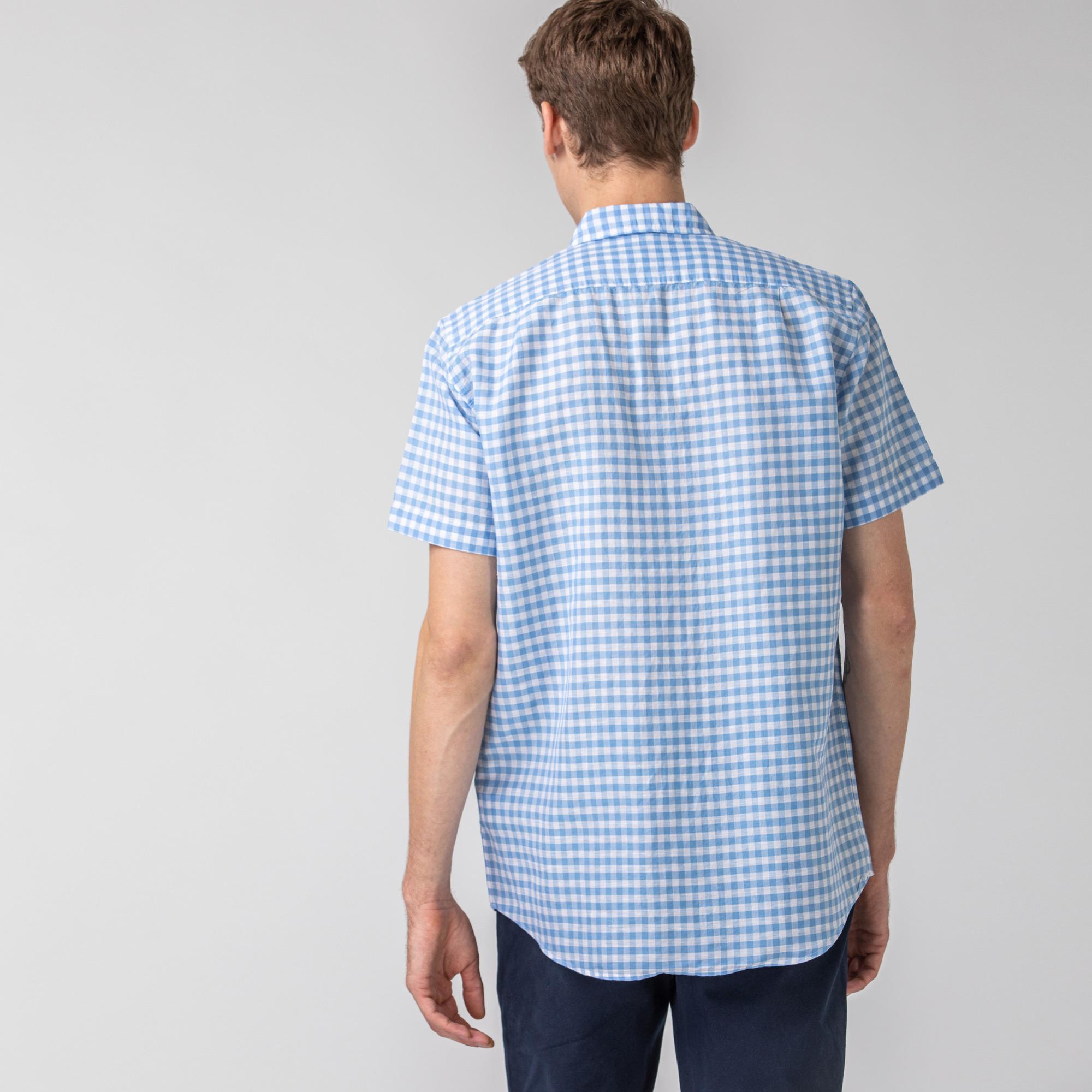 Lacoste Erkek Regular Fit Kısa Kollu Ekose Desenli Mavi Gömlek