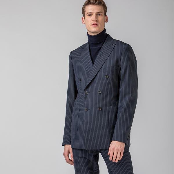 Lacoste L!VE Erkek Çizgili Lacivert Ceket