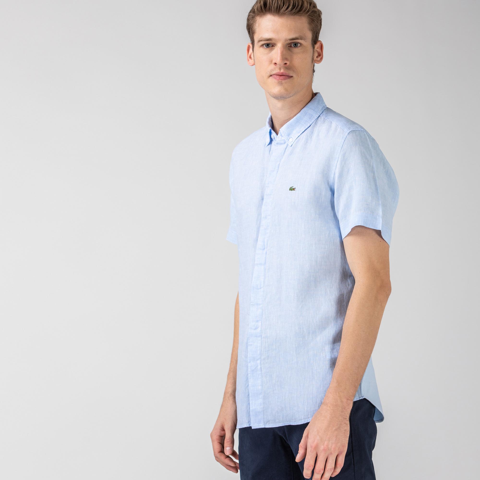 Lacoste Erkek Regular Fit Kısa Kollu Mavi Gömlek