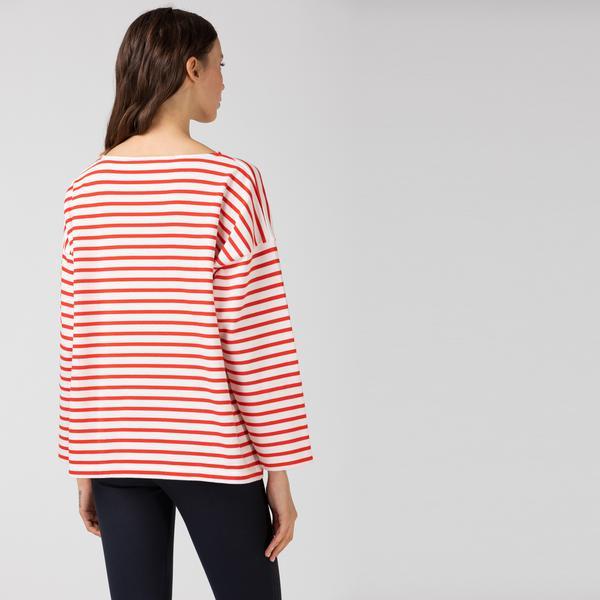 Lacoste Kadın Kayık Yaka Çizgili Uzun Kollu Kırmızı - Beyaz T-Shirt