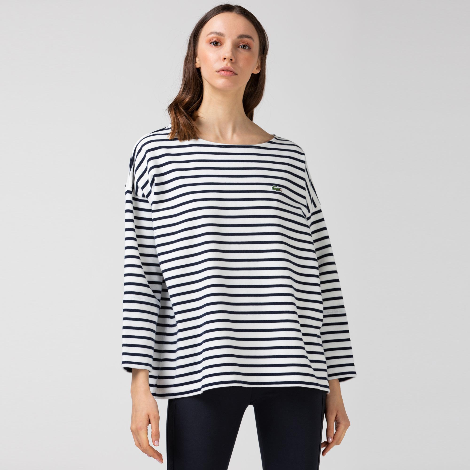 Lacoste Kadın Kayık Yaka Çizgili Uzun Kollu Lacivert - Beyaz T-Shirt