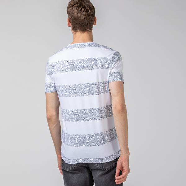 Lacoste Erkek V Yaka Desenli Çizgili Beyaz T-Shirt