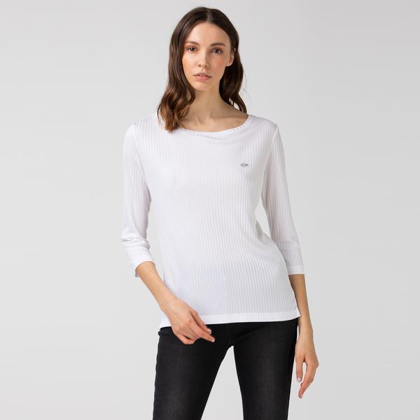 Lacoste Kadın Bisiklet Yaka Çizgili Uzun Kollu Beyaz T-Shirt