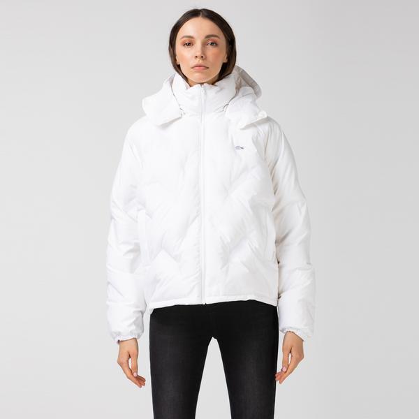 Lacoste Kadın Kapüşonlu Beyaz Çift Taraflı Mont