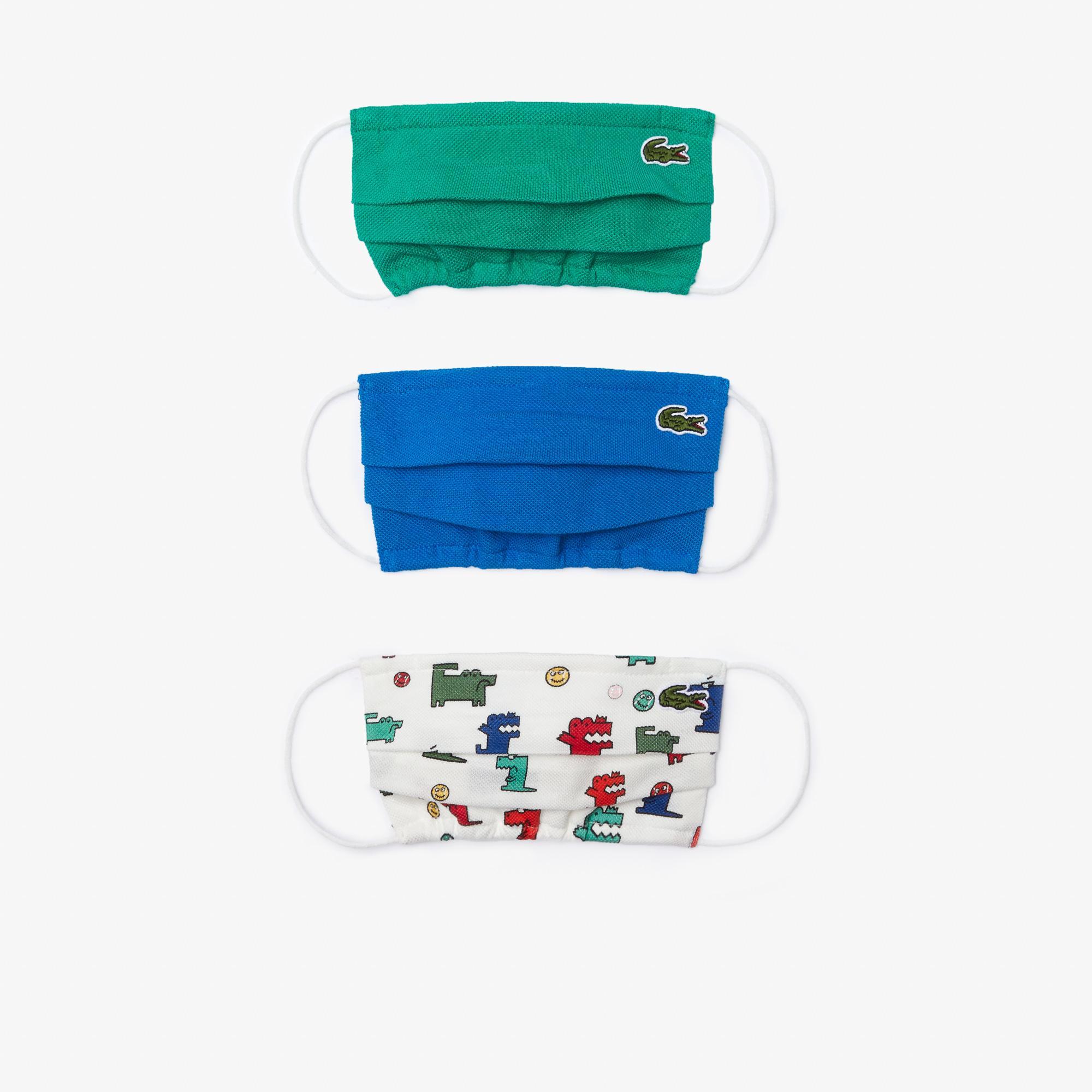 Lacoste Çocuk Baskılı Yıkanabilir Renkli 3'lü Maske