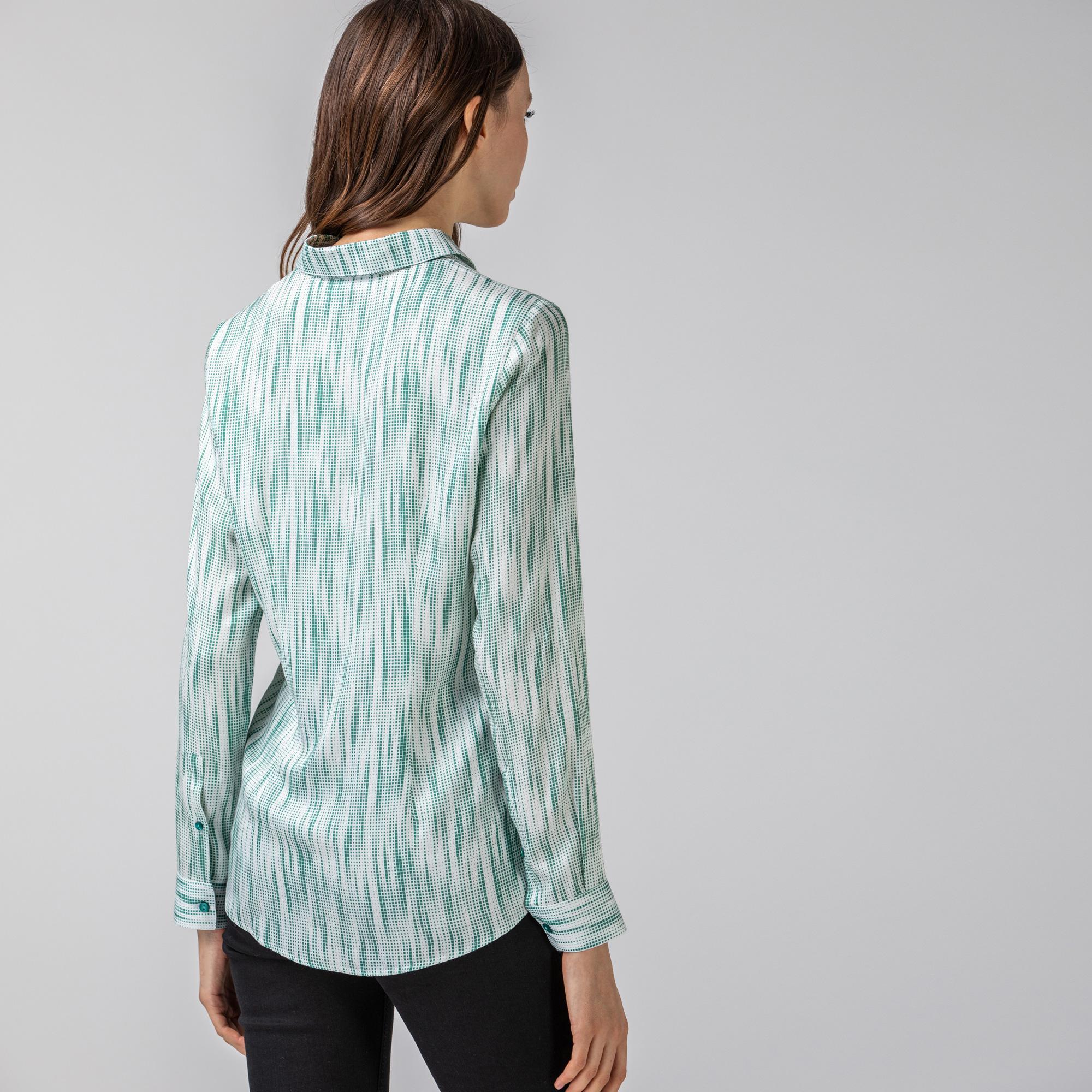 Lacoste Kadın Desenli Yeşil Gömlek