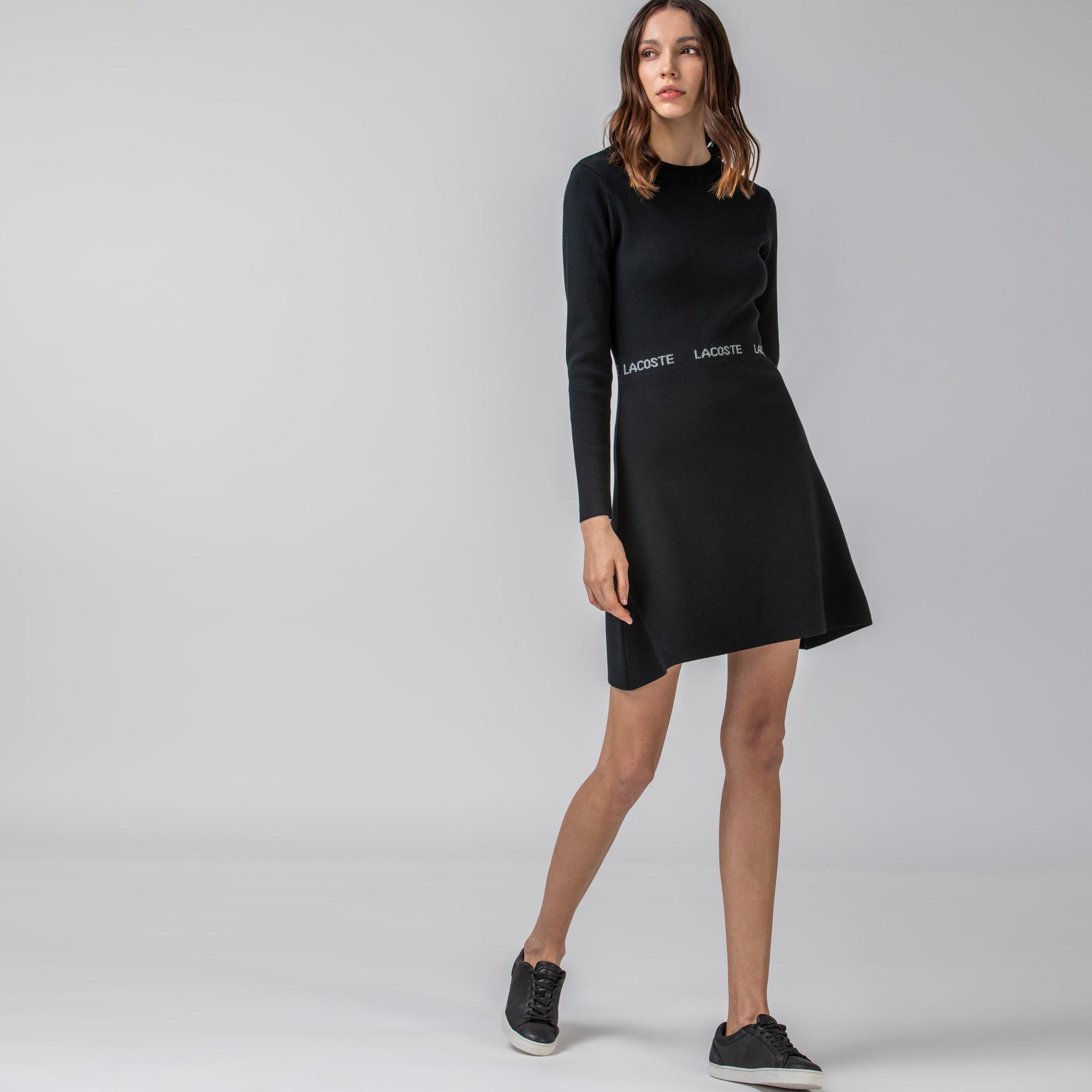 Lacoste Kadın Uzun Kollu Bisiklet Yaka Siyah Elbise