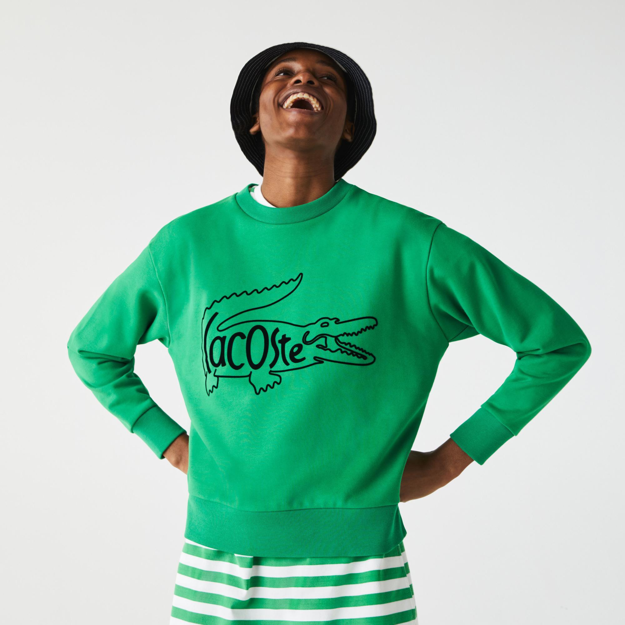 Lacoste Kadın Bisiklet Yaka Baskılı Yeşil Sweatshirt