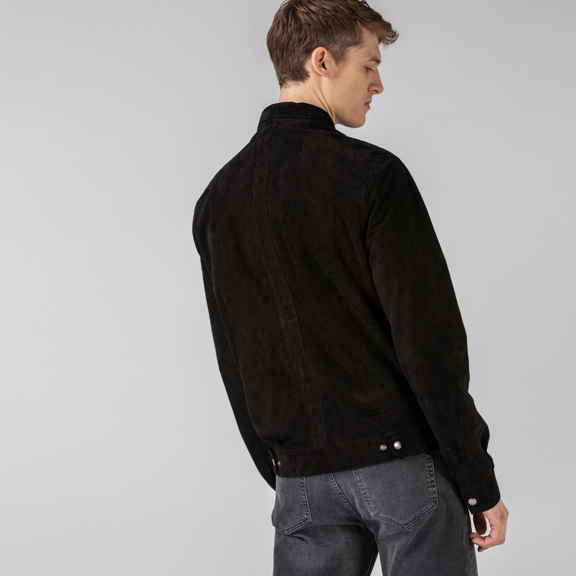 Lacoste Erkek Gömlek Yaka Deri Siyah Ceket