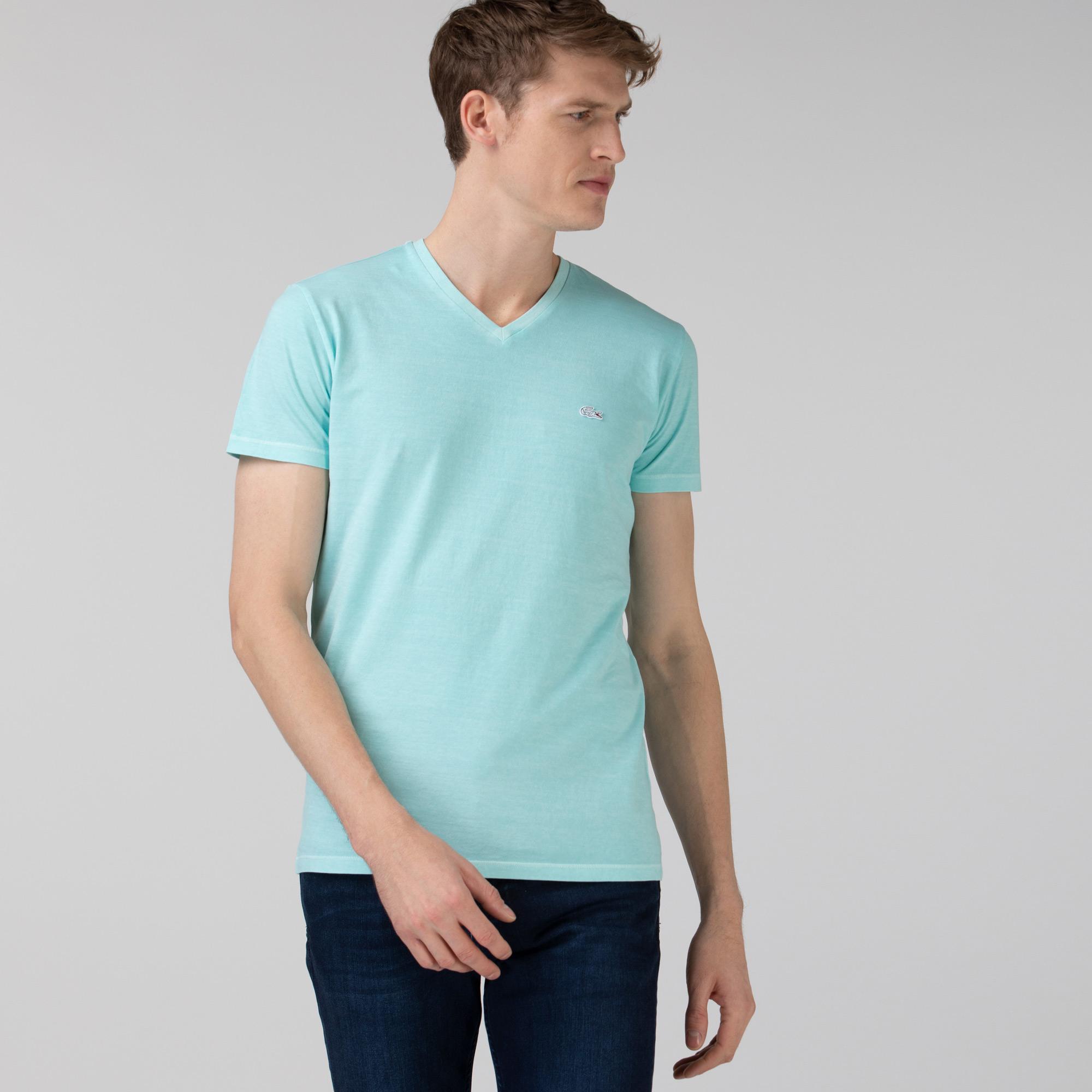 Lacoste Erkek Slim Fit V Yaka Açık Mavi T-Shirt
