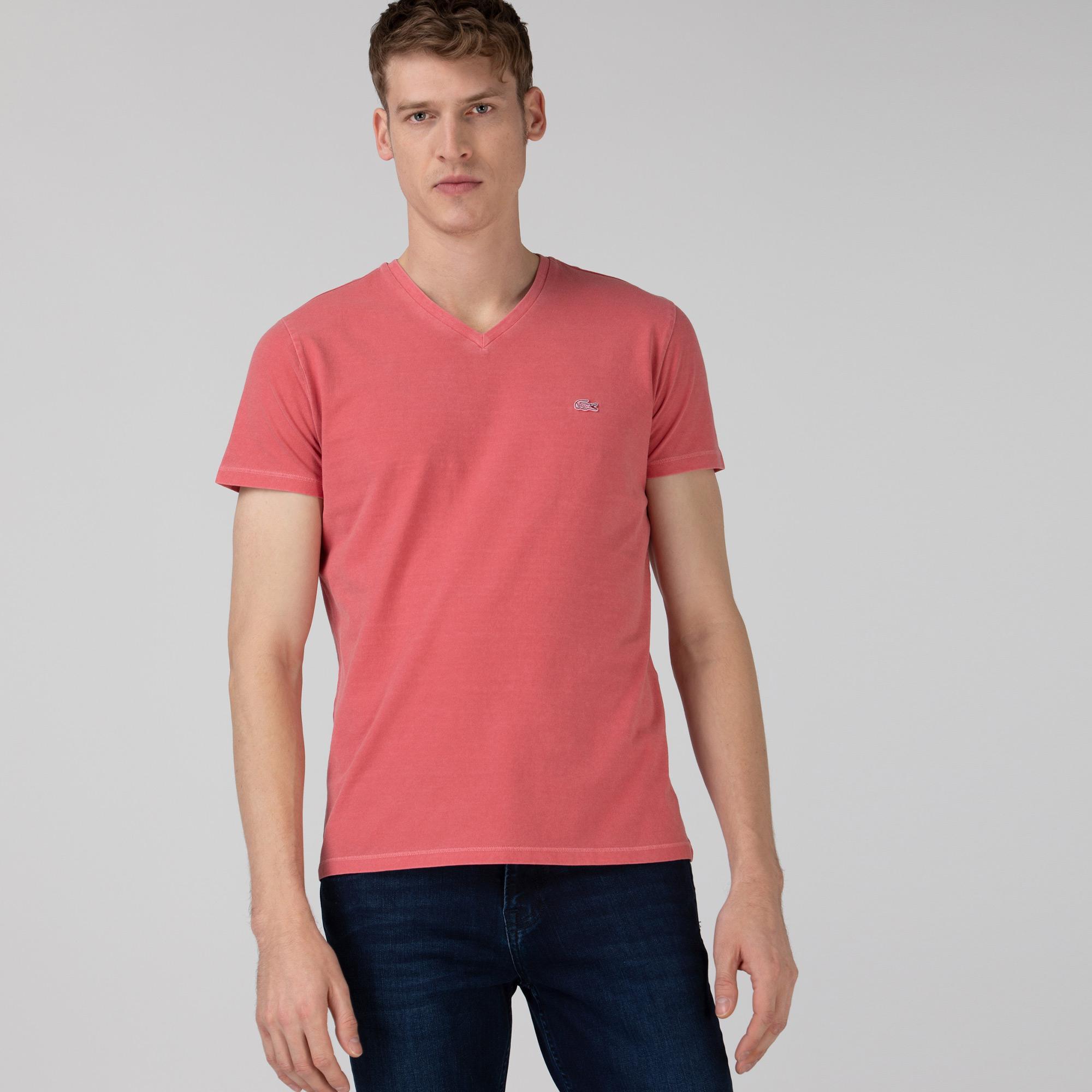 Lacoste Erkek Slim Fit V Yaka Pembe T-Shirt