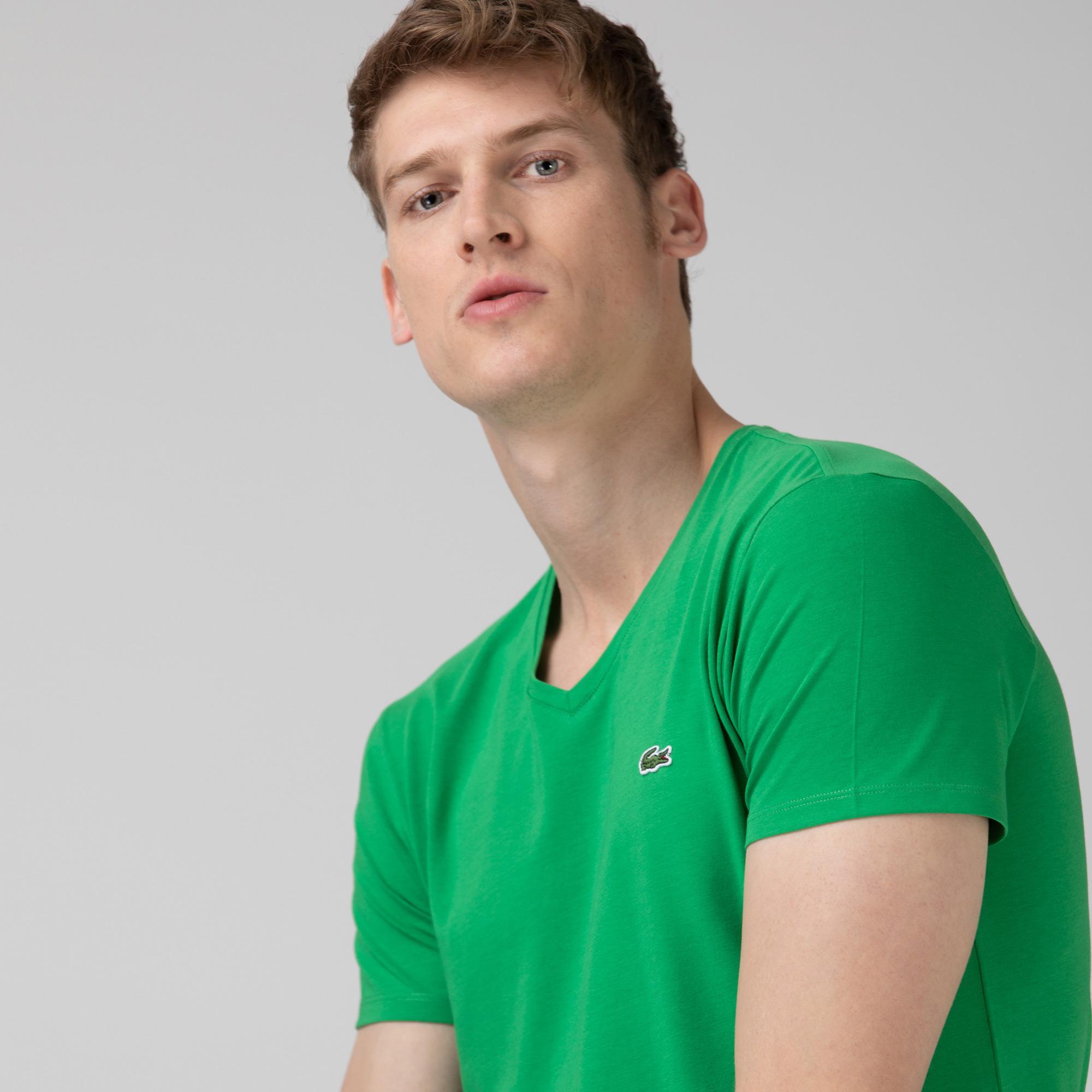 Lacoste Erkek Slim Fit V Yaka Yeşil T-Shirt