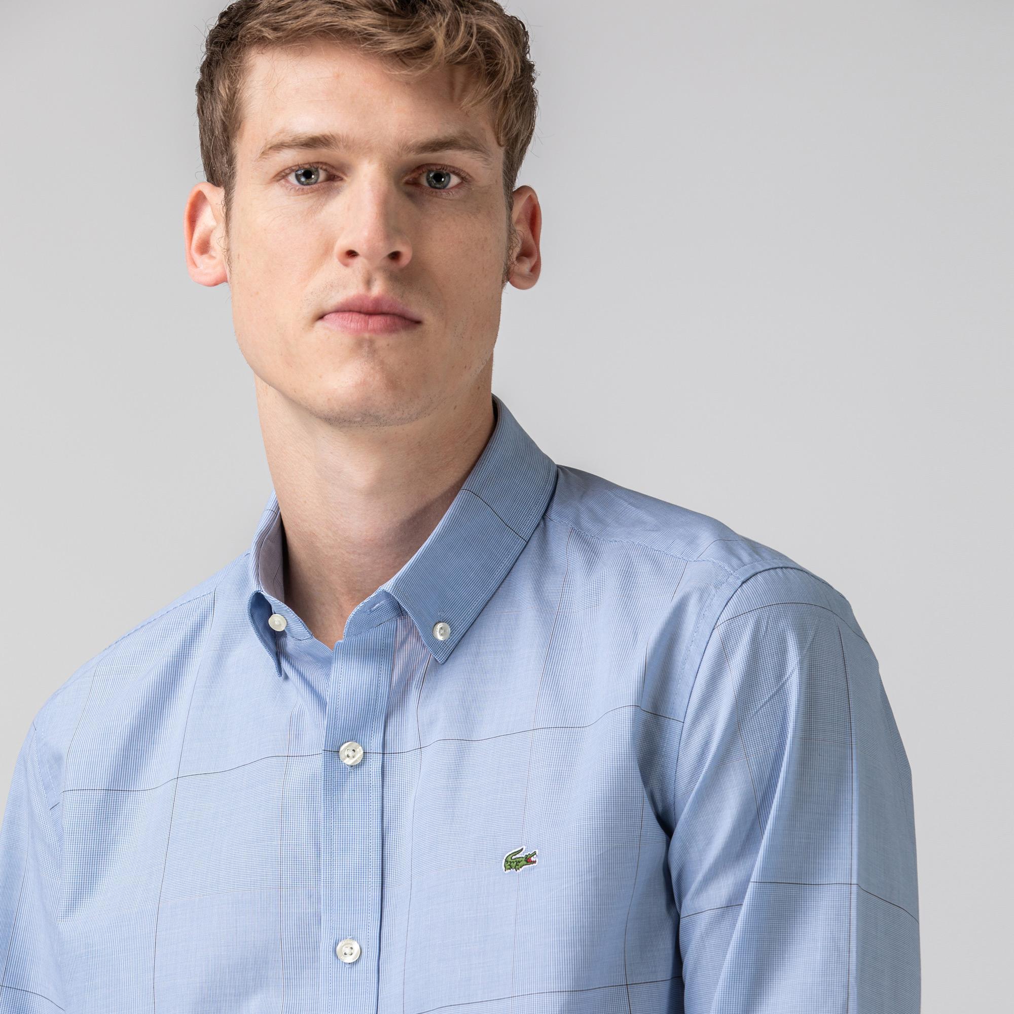Lacoste Erkek Slim Fit Ekose Desenli Mavi Gömlek