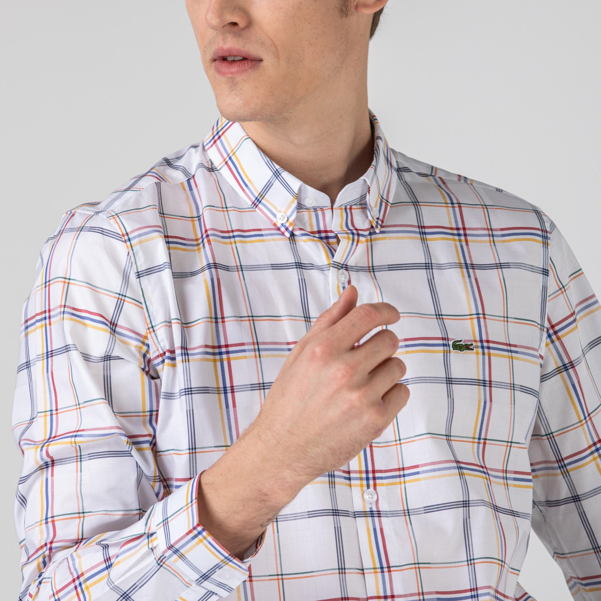 Lacoste Erkek Slim Fit Ekose Desenli Beyaz Gömlek