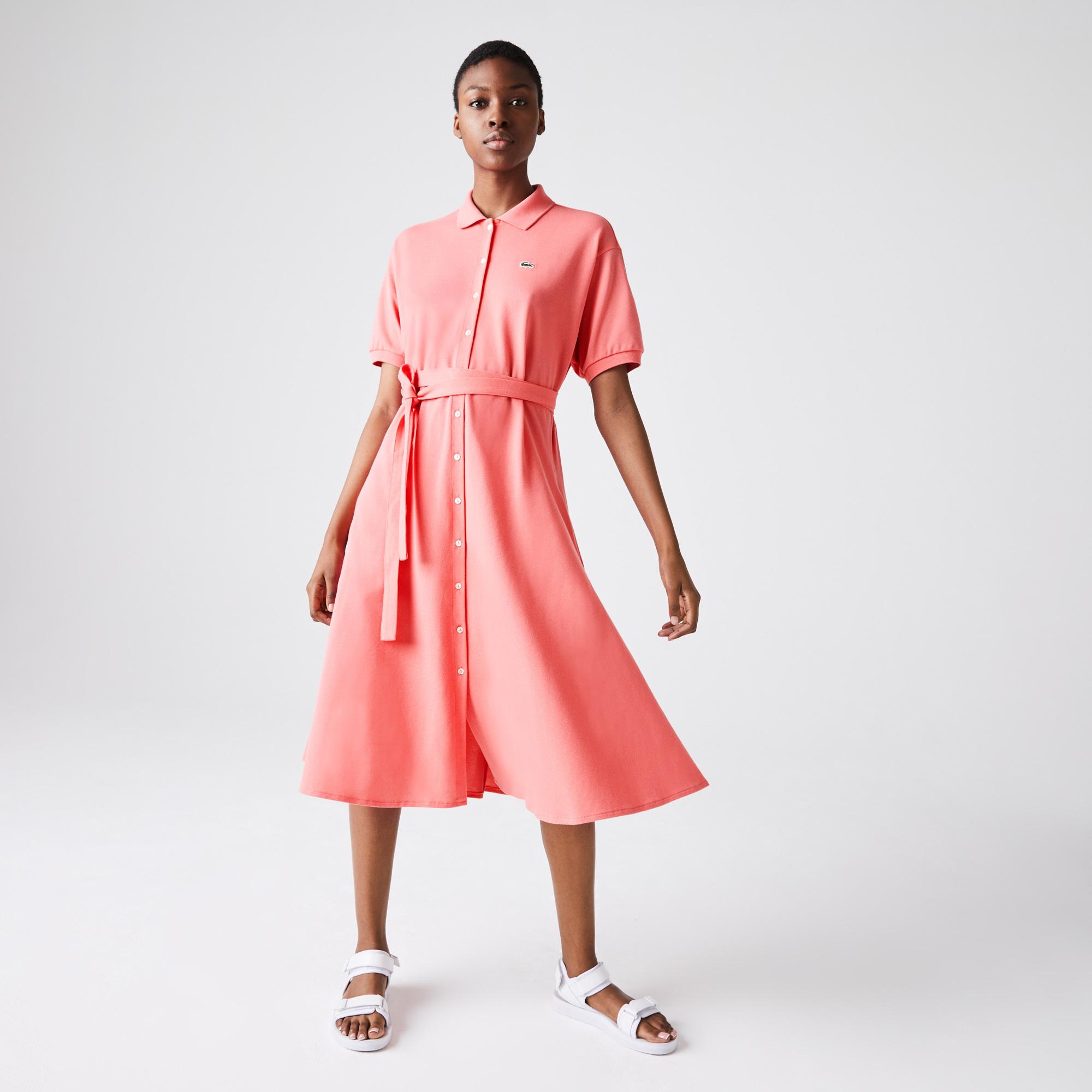 Lacoste Kadın Kısa Kollu Gömlek Yaka Pembe Elbise
