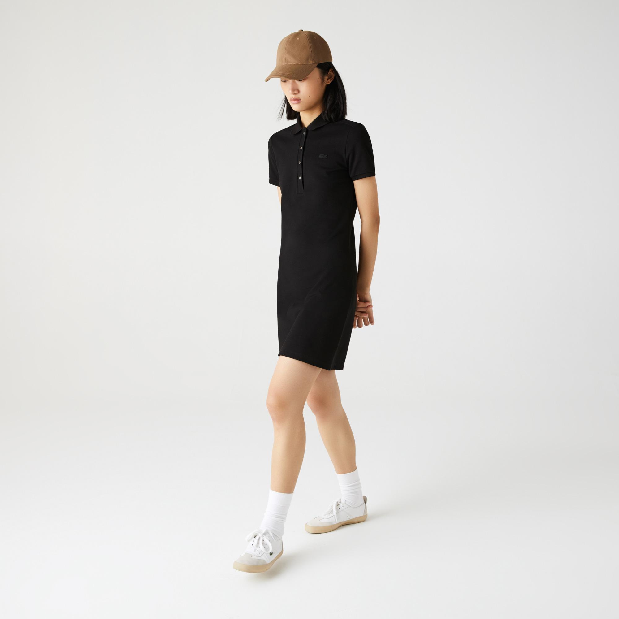 Lacoste Kadın Siyah Polo Yaka Elbise