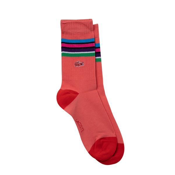 Lacoste Kadın Uzun Çizgili Renkli Çorap