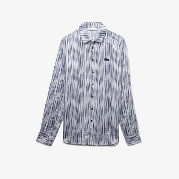 Lacoste Kadın Desenli Lacivert Gömlek