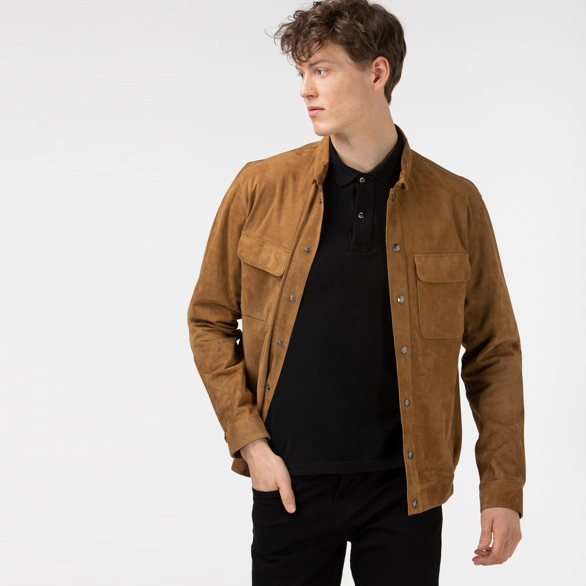 Lacoste Erkek Gömlek Yaka Deri Açık Kahverengi Ceket