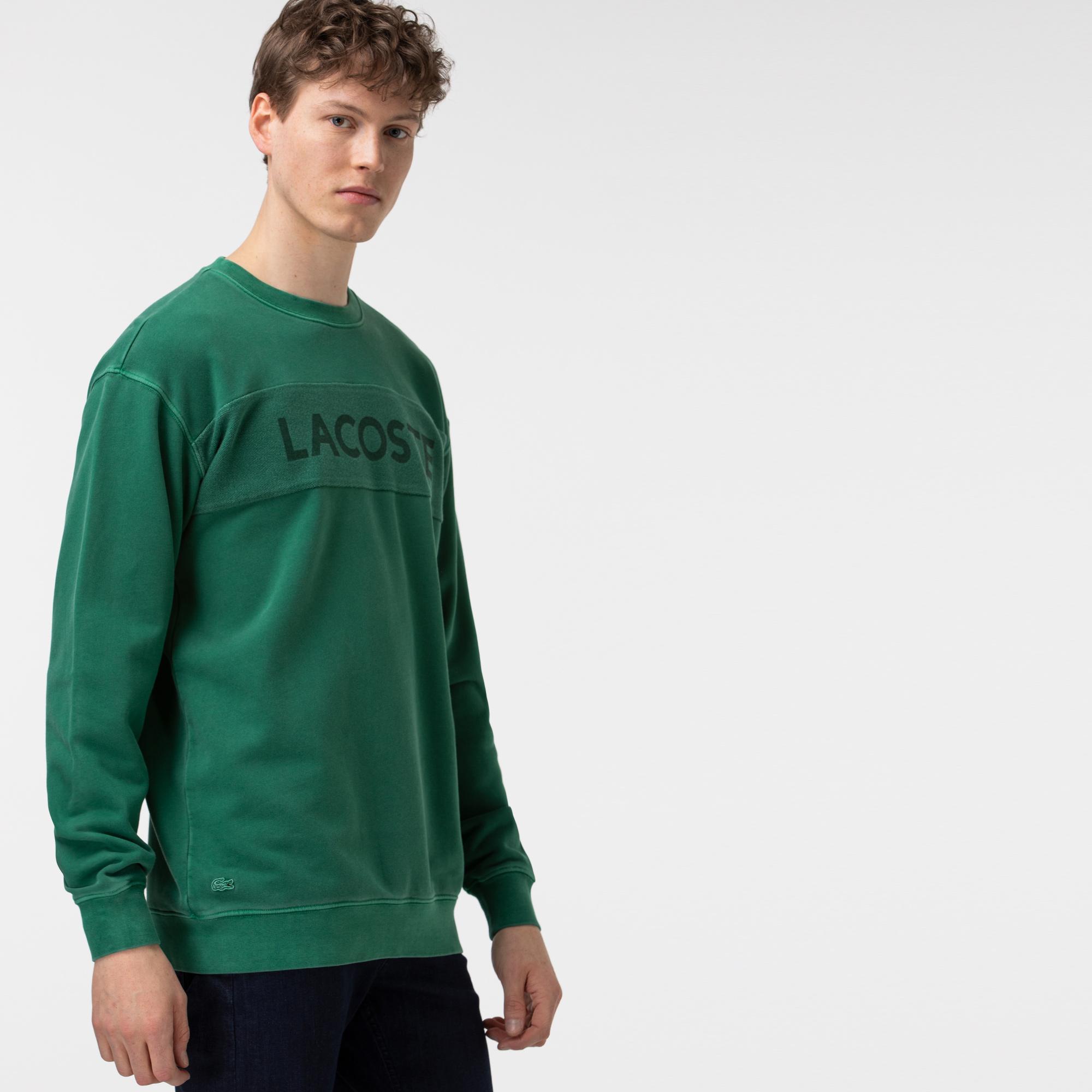 Lacoste Erkek Rahat Fit Bisiklet Yaka Baskılı Yeşil Sweatshirt