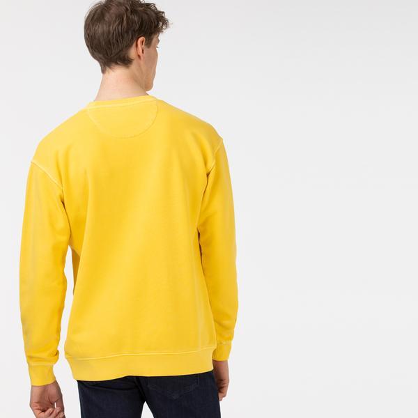 Lacoste Erkek Rahat Fit Bisiklet Yaka Baskılı Sarı Sweatshirt