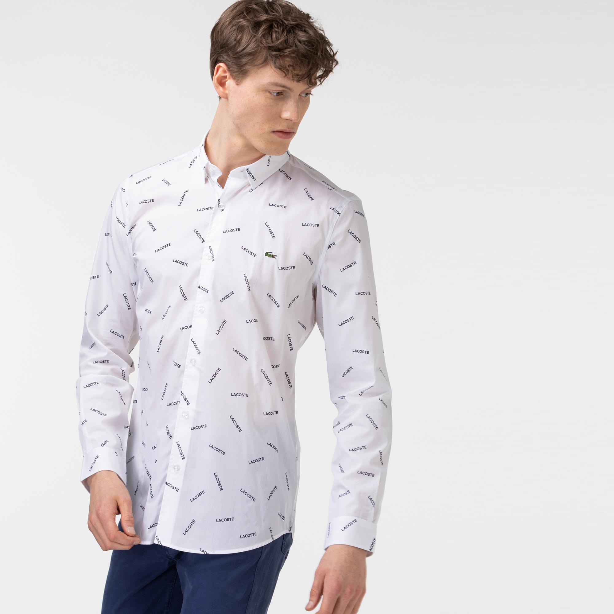 Lacoste Erkek Slim Fit Baskılı Beyaz Gömlek