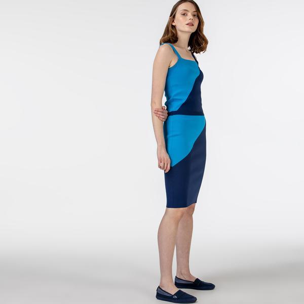 Lacoste Kadın Renk Bloklu Lacivert - Saks Mavi Etek