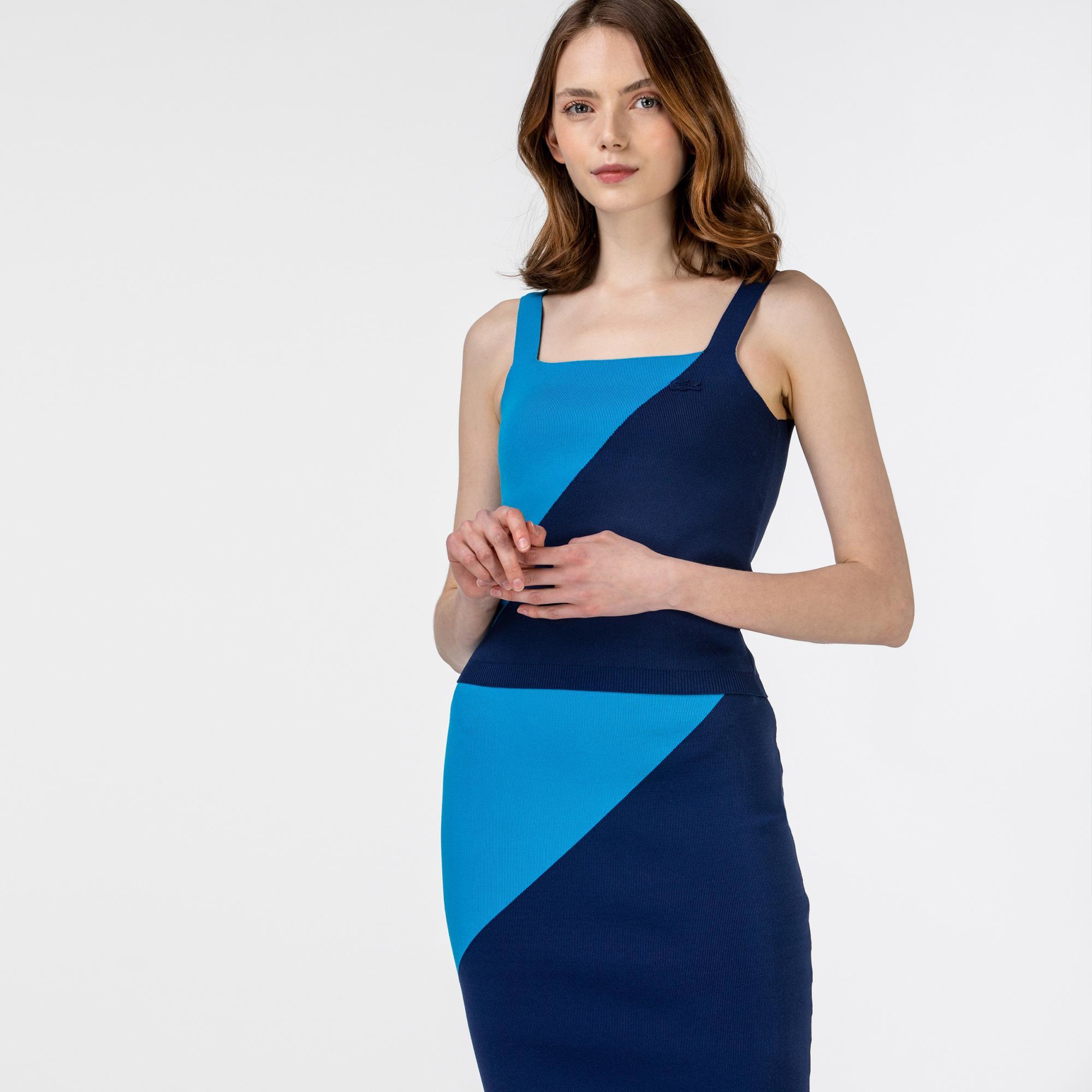 Lacoste Kadın Kolsuz Askılı Renk Bloklu Mavi Triko Kazak