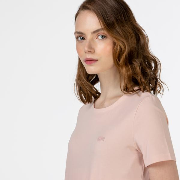 Lacoste Kadın Slim Fit Bisiklet Yaka Pembe T-Shirt