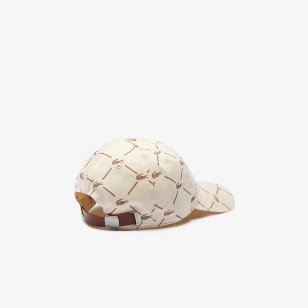 Lacoste L!ve Unisex Baskılı Bej Şapka