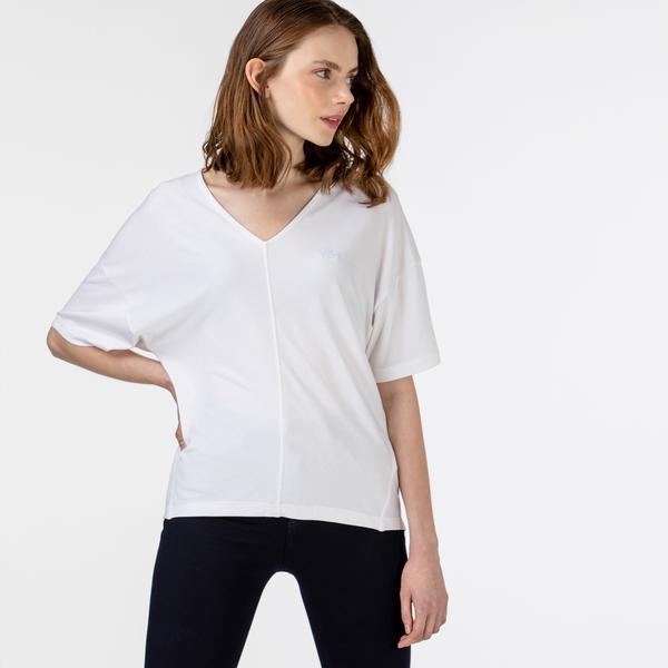Lacoste Kadın Kısa Kollu V Yaka Beyaz Bluz