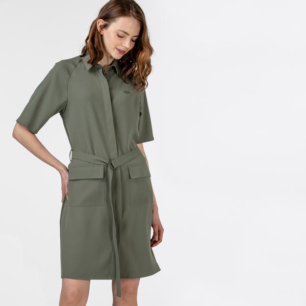 Lacoste Kadın Kısa Kollu Polo Yaka Haki Elbise