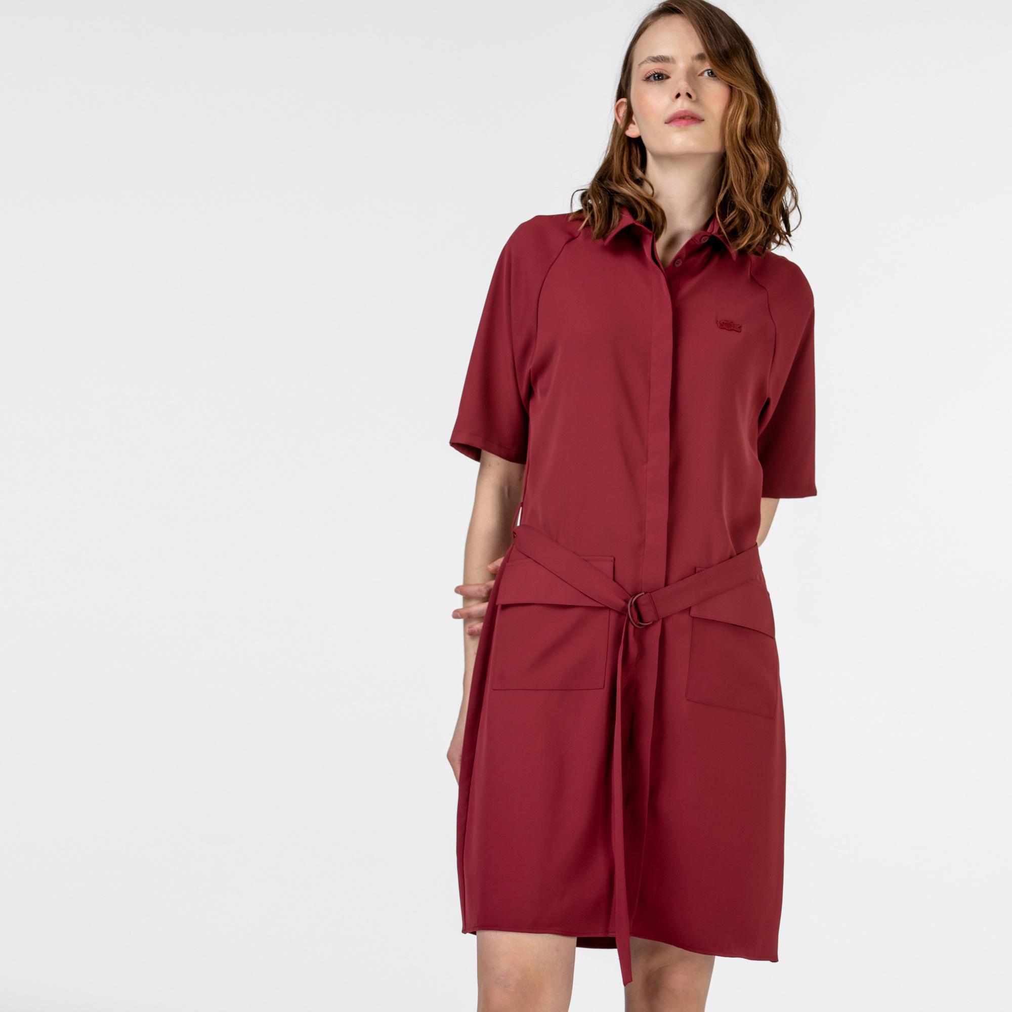 Lacoste Kadın Kısa Kollu Polo Yaka Bordo Elbise