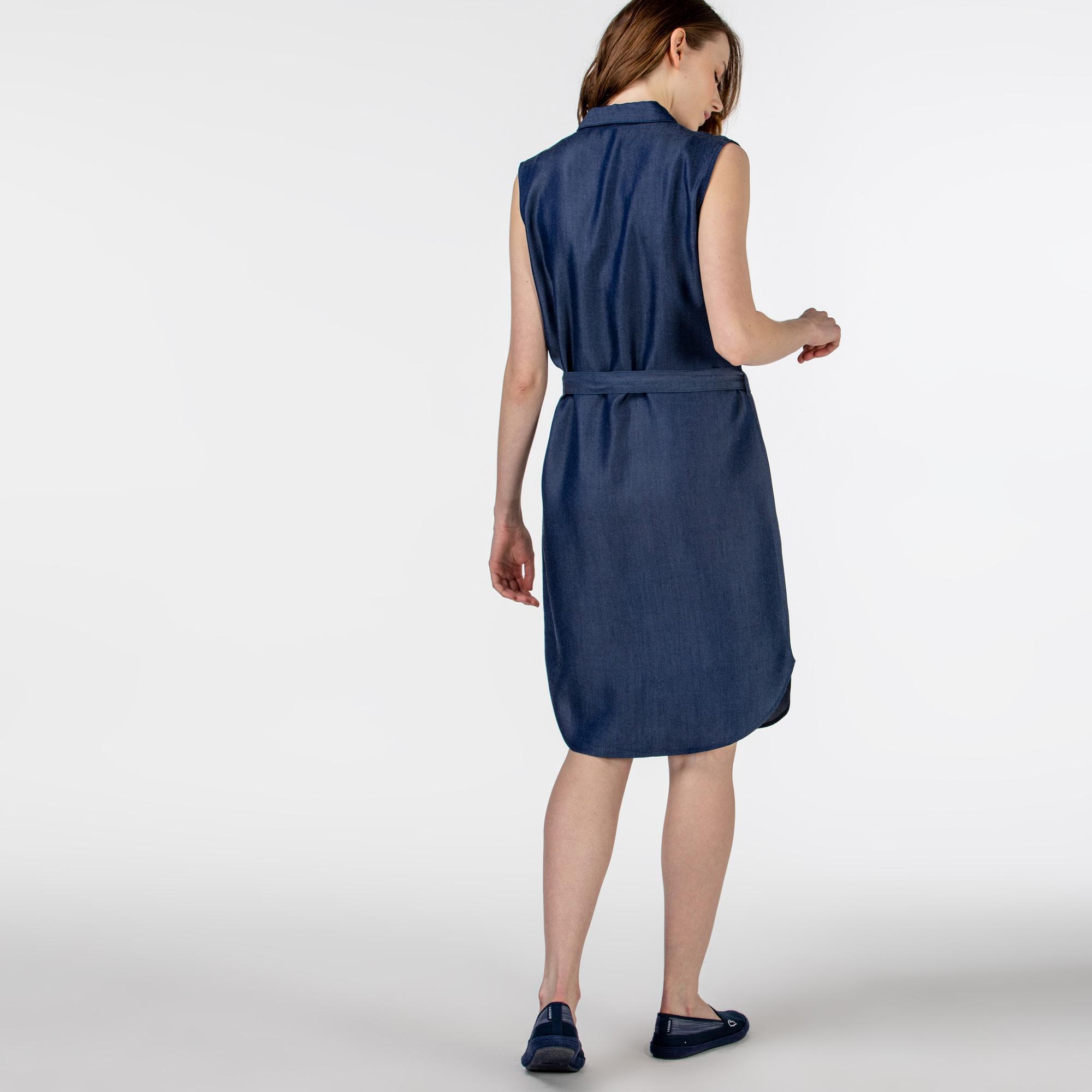 Lacoste Kadın Kolsuz Gömlek Yaka Denim Elbise