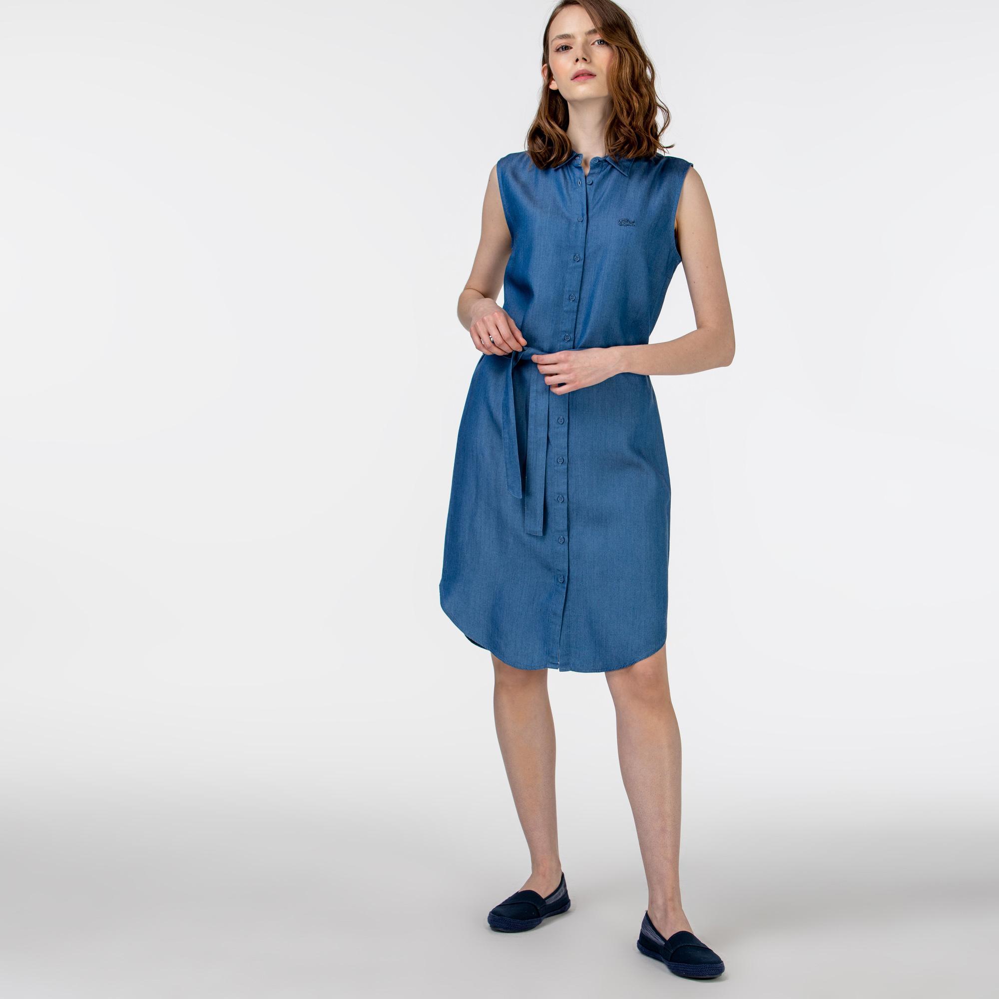 Lacoste Kadın Kolsuz Gömlek Yaka Açık Denim Elbise