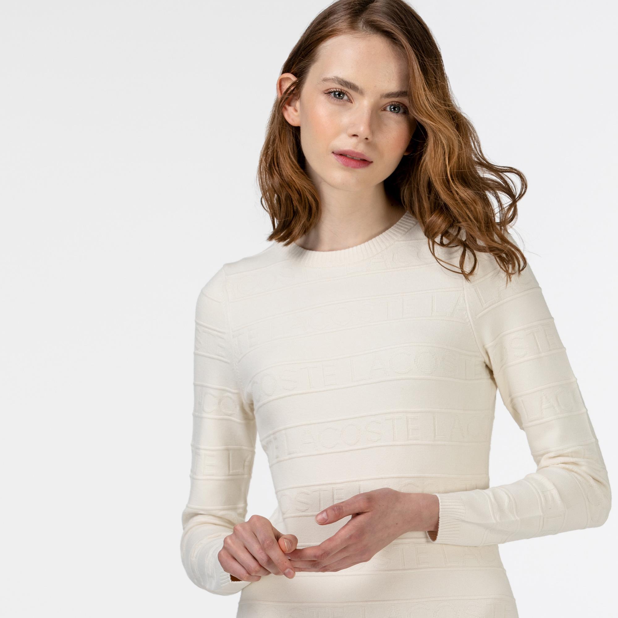 Lacoste Kadın Uzun Kollu Bisiklet Yaka Baskılı Beyaz Elbise