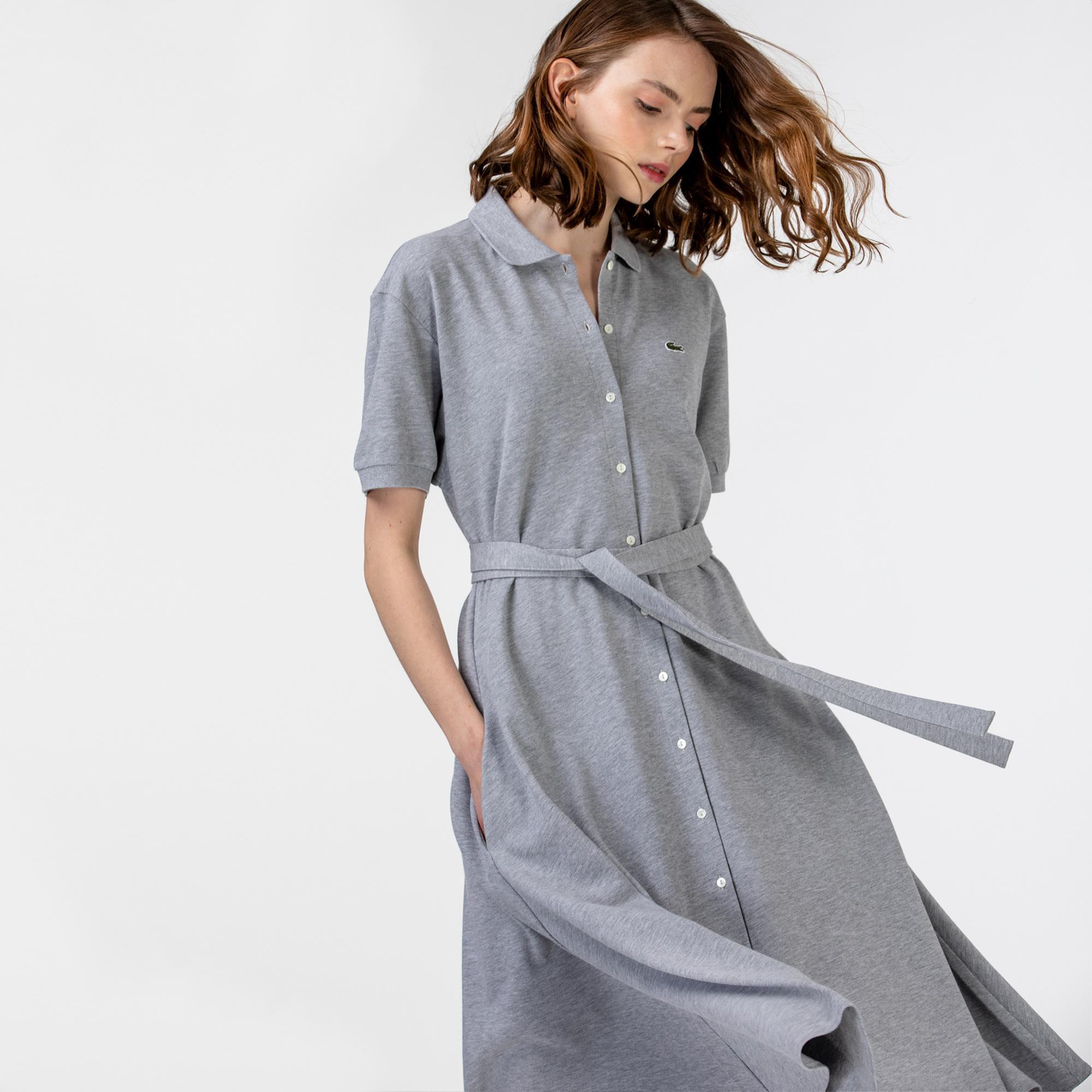 Lacoste Kadın Kısa Kollu Gömlek Yaka Gri Elbise