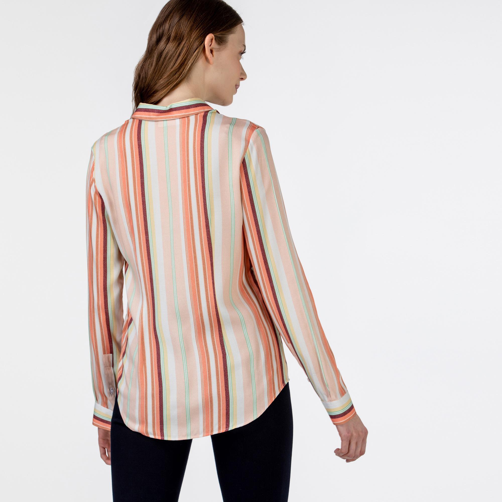 Lacoste Kadın Çizgili Pembe Gömlek