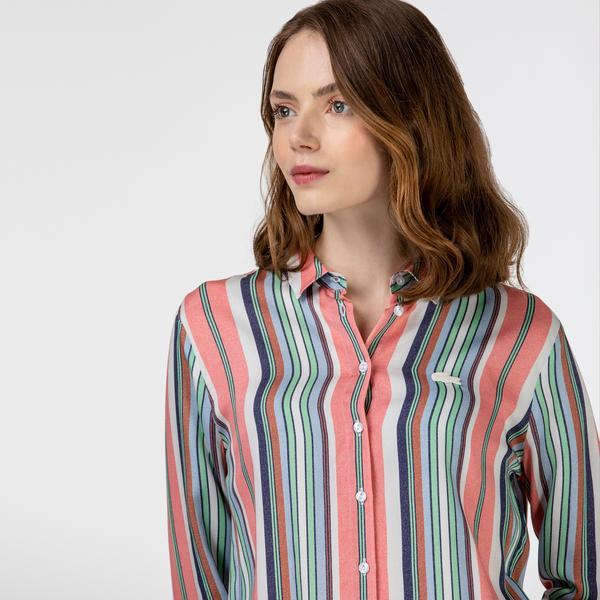 Lacoste Kadın Çizgili Renkli Gömlek